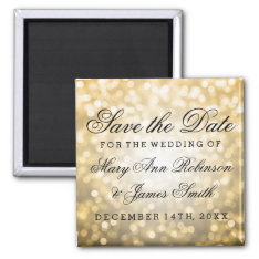Elegant Save The Date Gold Glitter Lights Magnet at Zazzle