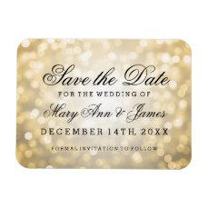 Elegant Save The Date Gold Glitter Lights Magnet