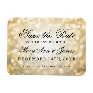 Elegant Save The Date Gold Glitter Lights Magnet