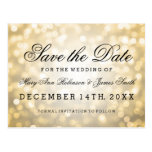 Elegant Save The Date Gold Glitter Lights Post Cards