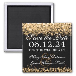 Elegant Save The Date Gold Lights 2 Inch Square Magnet