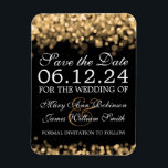 "Elegant Save The Date Gold Lights Magnet<br><div class=""desc"">Elegant wedding &quot;Save The Date&quot; design with Gold Lights,  and custom names and date text.</div>"