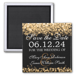 Elegant Save The Date Gold Lights Magnet