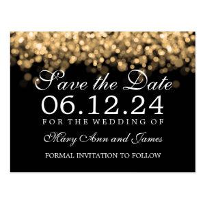 Elegant Save The Date Gold Lights Postcard
