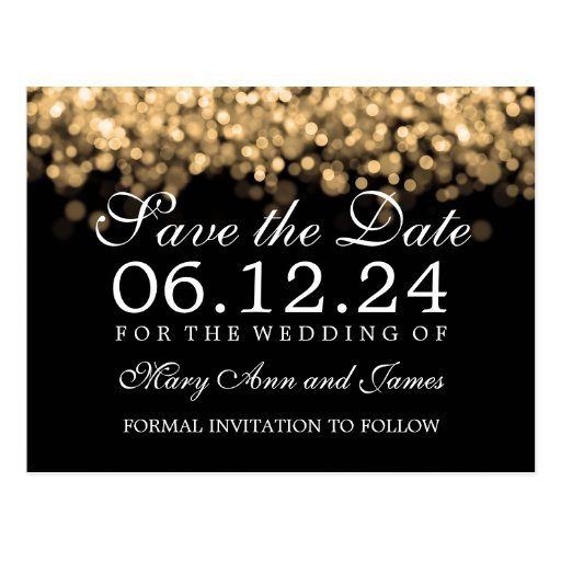 Elegant Save The Date Gold Lights Postcards