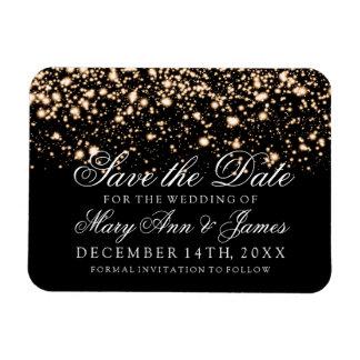 Elegant Save The Date Gold Midnight Glam Rectangular Photo Magnet