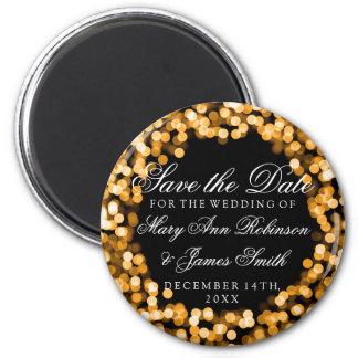 Elegant Save The Date Gold Sparkly Lights Magnet
