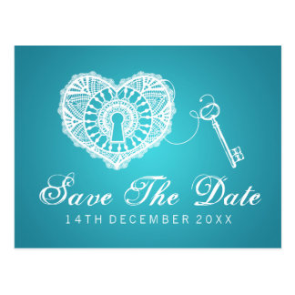 Elegant Save The Date Key To My Heart Turquoise Postcard