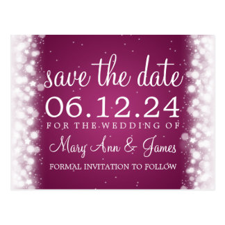 Elegant Save The Date Magic Sparkle Pink Postcard