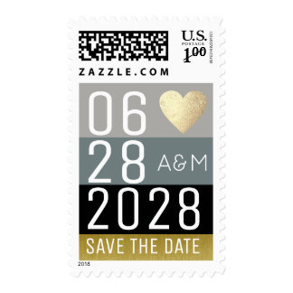 """elegant """"save the date"""" modern luxe wedding postage"""