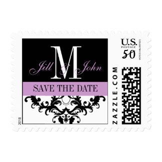 Elegant Save the Date Monogram Wedding Postage