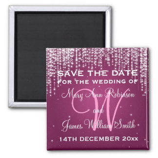 Elegant Save The Date Night Dazzle Berry Pink Magnet