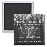 Elegant Save The Date Night Dazzle Black 2 Inch Square Magnet