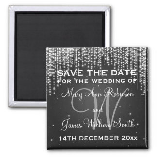 Elegant Save The Date Night Dazzle Black Magnet
