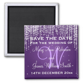 Elegant Save The Date Night Dazzle Purple 2 Inch Square Magnet