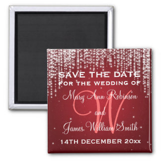 Elegant Save The Date Night Dazzle Red Magnet