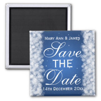 Elegant Save The Date Party Sparkle Blue 2 Inch Square Magnet