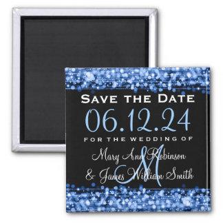 Elegant Save The Date Party Sparkles Blue Refrigerator Magnet