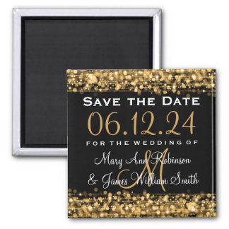 Elegant Save The Date Party Sparkles Gold Magnet