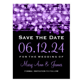 Elegant Save The Date Party Sparkles Purple Postcard