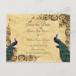 Elegant, Save the Date, Peacocks, Custom Announcement Postcard