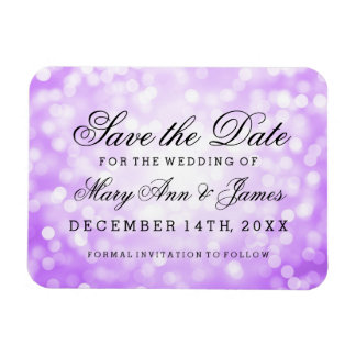 Elegant Save The Date Purple Glitter Lights Magnet