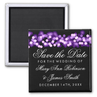 Elegant Save The Date Purple Hollywood Glam 2 Inch Square Magnet