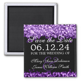 Elegant Save The Date Purple Lights Magnets