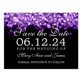 Elegant Save The Date Purple Lights Postcards