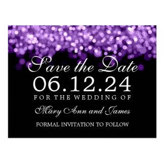 Elegant Save The Date Purple Lights Postcard