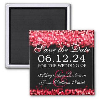 Elegant Save The Date Red Lights Fridge Magnet