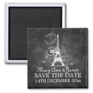 Elegant Save The Date Romantic Paris Black 2 Inch Square Magnet