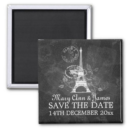 Elegant Save The Date Romantic Paris Black Fridge Magnets