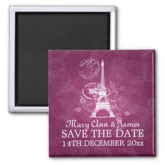 Elegant Save The Date Romantic Paris Pink 2 Inch Square Magnet