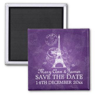 Elegant Save The Date Romantic Paris Purple Fridge Magnet