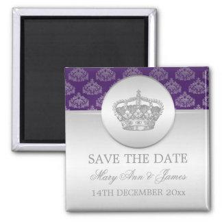 Elegant Save The Date Royal Crown Purple Magnet