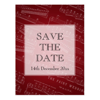 Elegant Save The Date Sheet Music Red Postcard