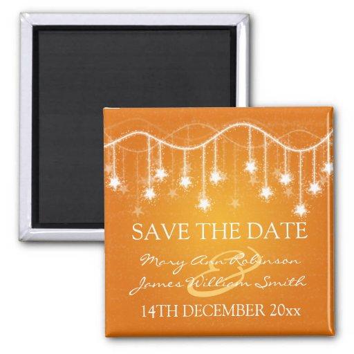 Elegant Save The Date Shimmering Stars Orange Refrigerator Magnets