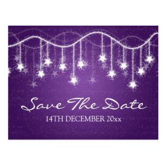 Elegant Save The Date Shimmering Stars Purple Postcard