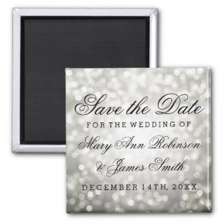 Elegant Save The Date Silver Glitter Lights 2 Inch Square Magnet