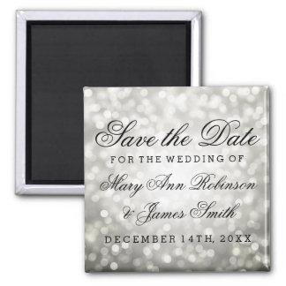 Elegant Save The Date Silver Glitter Lights Magnet