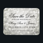"Elegant Save The Date Silver Glitter Lights Magnet<br><div class=""desc"">Elegant wedding &quot;Save The Date&quot; design with Silver Glitter Lights,  and custom names and date text.</div>"