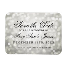 Elegant Save The Date Silver Glitter Lights Magnet at Zazzle