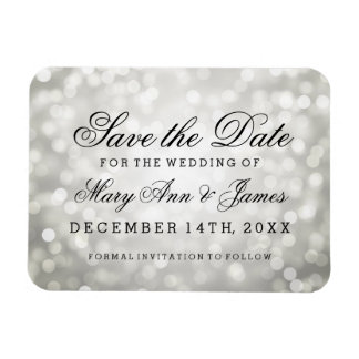 Elegant Save The Date Silver Glitter Lights Magnet