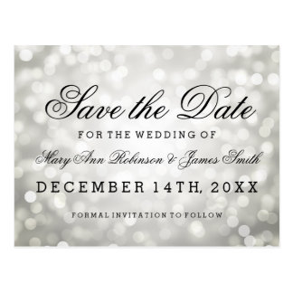 Elegant Save The Date Silver Glitter Lights Postcard