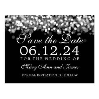 Elegant Save The Date Silver Lights Postcard