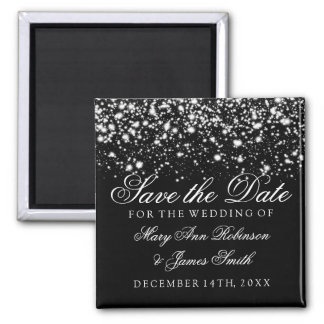 Elegant Save The Date Silver Midnight Glam Magnet