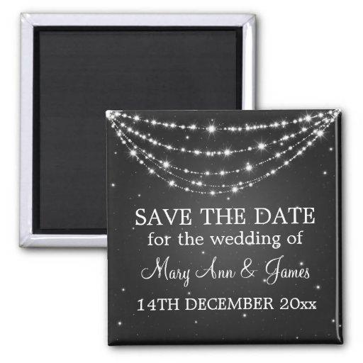 Elegant Save The Date Sparkling Chain Black Magnets