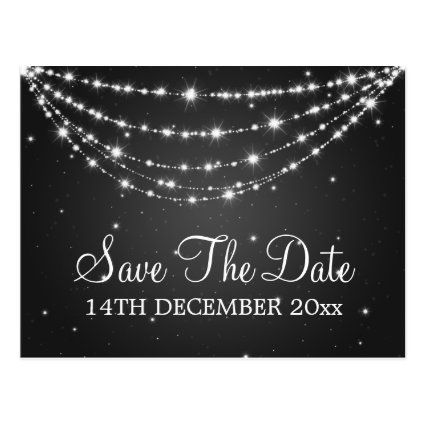 Elegant Save The Date Sparkling Chain Black Postcard