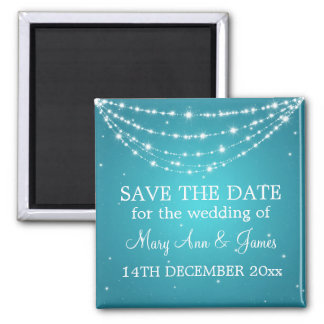 Elegant Save The Date Sparkling Chain Blue 2 Inch Square Magnet